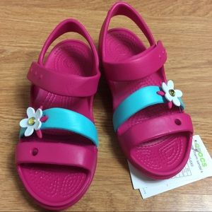 Crocs Keeley Charm Girl Sandals Sz C 13 Candy Pink